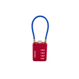 """Замок навесной """"АЛЛЮР"""" ВС1КТ-30/3 (H2), кодовый, с тросиком, d=3 мм, розовый"""