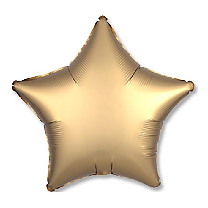 Шар фольгированный 19 Звезда, сатин, золотистый, 1 шт.