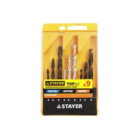 Набор сверл STAYER 'STANDARD', комбинированные, d=4-6-8 мм, дерево/металл/бетон, 9 шт Ош