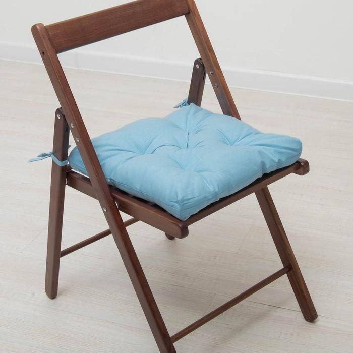 Набор подушек для стула 35х35 см 2шт, цв голубой, бязь, холлофайбер