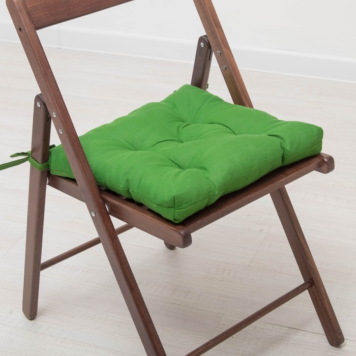 Набор подушек для стула 35х35 см 2шт, цв темно-зеленый, бязь, холлофайбер