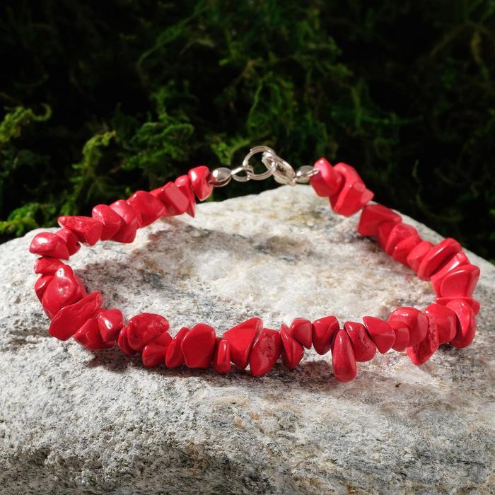 Браслет крошка 1 нить Коралл красный