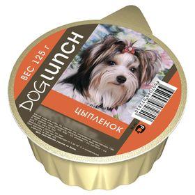 Консервы 'Дог ланч' для собак, крем-суфле с цыпленком, ламист., 125 г. Ош