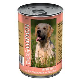 """Консервы """"Дог ланч"""" для собак, ягненок с рисом в желе, 410 г."""