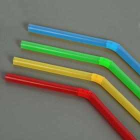 Набор трубочек для коктейля 5х210 мм, 50 шт, цветные с гофрой Ош