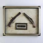 Пистолет 2в1 в раме, пули, рама под металл, на белом фоне, 47х37.5 см