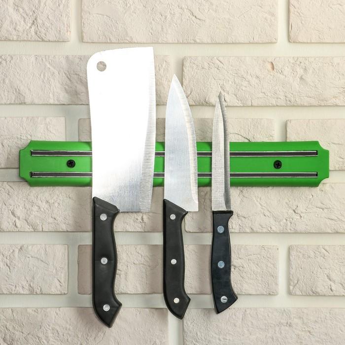Держатель для ножей магнитный, 33 см, цвет зелёный