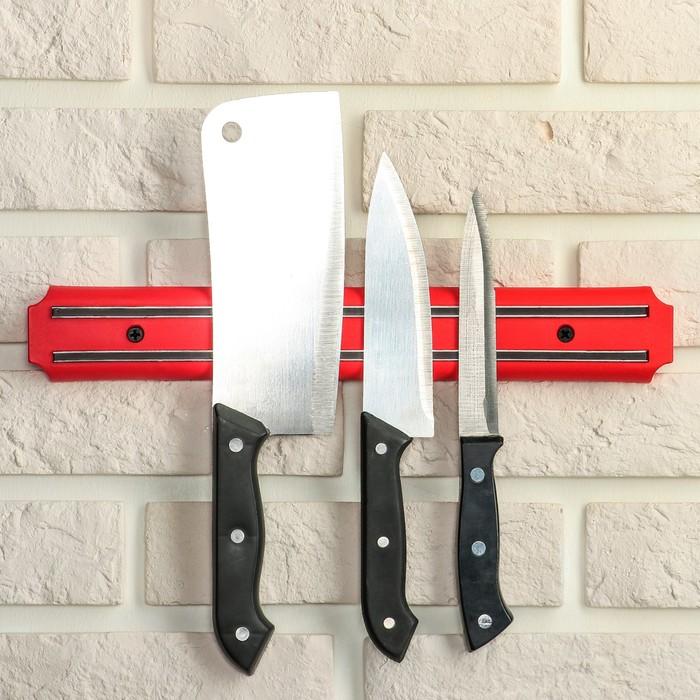 Держатель для ножей магнитный, 33 см, цвет красный