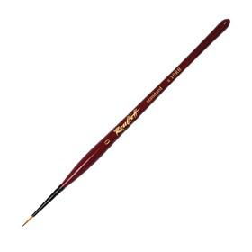 Кисть Лайнер Синтетика Roubloff Хобби №0, короткая ручка покрыта лаком, красная