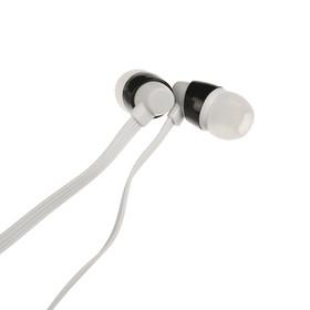 Наушники с микрофоном Qumann QSE-06 PIN +крепление 40061, вакуумные, белые