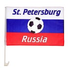 Флаг России с футбольным мячом, 30х45 см, Санкт-Петербург, шток для машины 45 см, полиэстер 287471