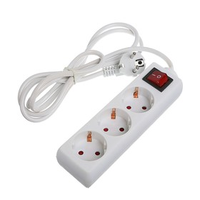 Удлинитель Luazon Lighting, 3 розетки,1.8м,6А, 1300Вт, ПВС 3х0.5 мм2, без з/к, с выкл., Б