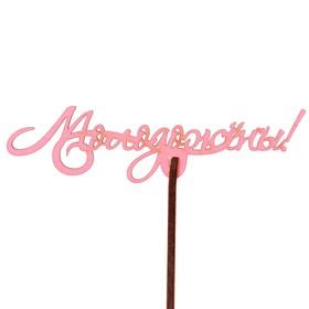 "Топпер ""Молодожёны"" 12х3 см, розовый"