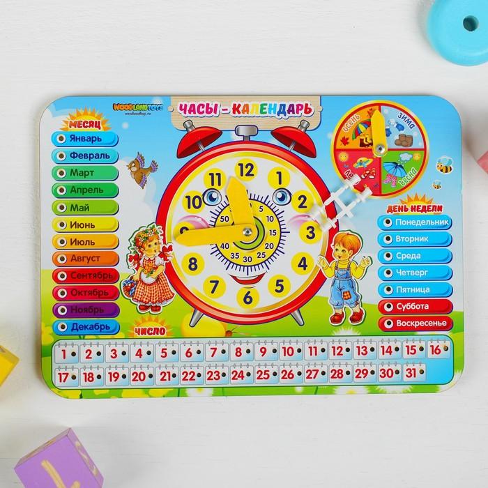 Календарь обучающий «Часы», из дерева
