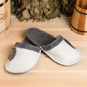 Тапочки для бани 'Листок' белые, войлок Ош