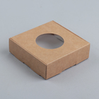 Коробка для печенья, с окном, крафт, 10 х 10 х 3 см