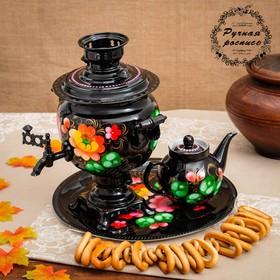 Набор «Жостово на чёрном», овал, 3 предмета, самовар 3 л, заварочный чайник 0,7 л, поднос Ош