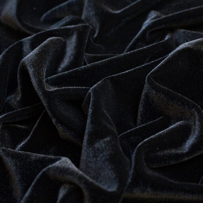 Бархат гладкокрашеный, стрейч, ширина 150 см, цвет чёрный