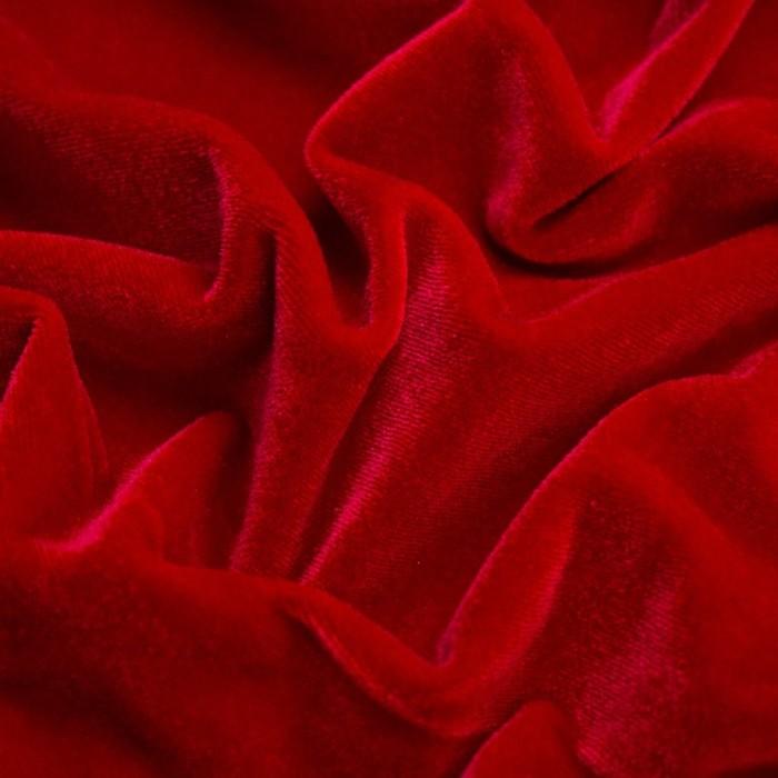 Бархат гладкокрашеный, стрейч, ширина 150 см, цвет красный