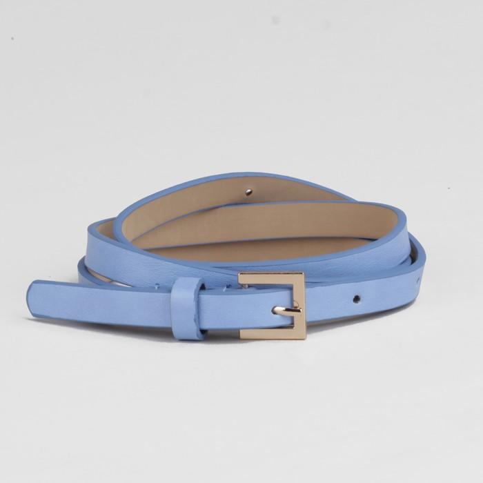 Ремень, ширина - 1,3 см, пряжка золото, цвет голубой глянцевый/гладкий