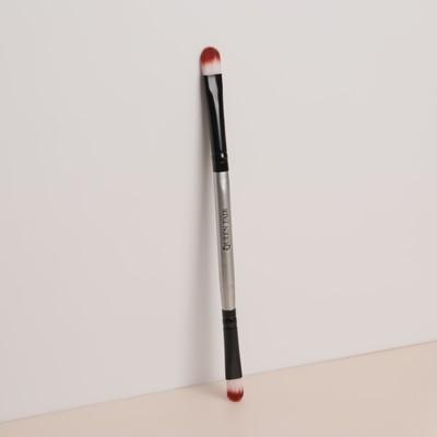 Кисть для макияжа, двусторонняя, 15,5 см, цвет чёрный/серебряный