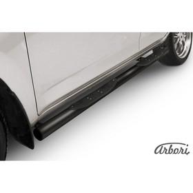 Защита штатных порогов Arbori d76 с проступями черная Toyota RAV-4 2006-2009 Ош
