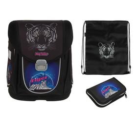 Ранец на замке Mag Taller Boxi, 38 х 29 х 19, наполнение: мешок, пенал, Tiger , цвет черный