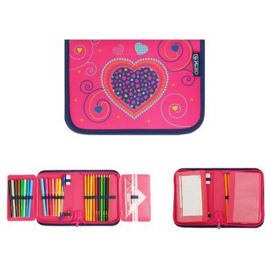 Пенал 1 секция откидные 2 планки, 140 х 205, с наполнением 31 предмет, ткань, Herlitz Pink Hearts