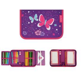 Пенал 1 секция откидные 2 планки, 140 х 205, с наполнением, ткань Herlitz, 31 предмет, Purple Butterfly