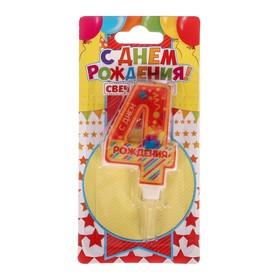 Свеча в торт цифра 4 'С днем рождения' Ош