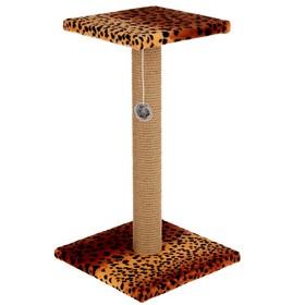"""Когтеточка """"Столбик"""" с площадкой и игрушкой,  30 х 52 см, джут,  микс цветов"""
