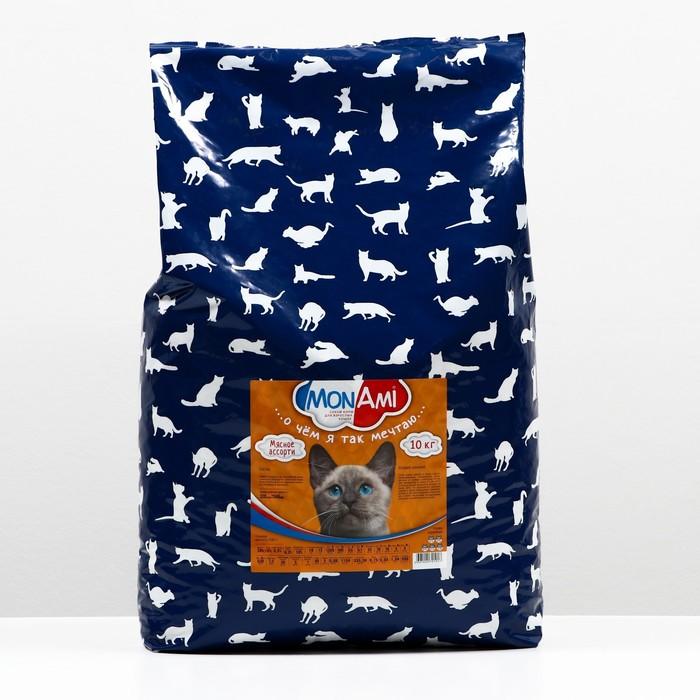 Сухой корм MonAmi для кошек, мясное ассорти, 10 кг