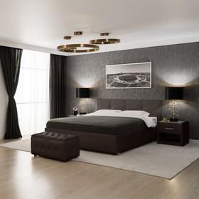 Кровать «Птичье гнездо» без ПМ, 140 х 200 см, встроенное основание, экокожа, цвет коричневый