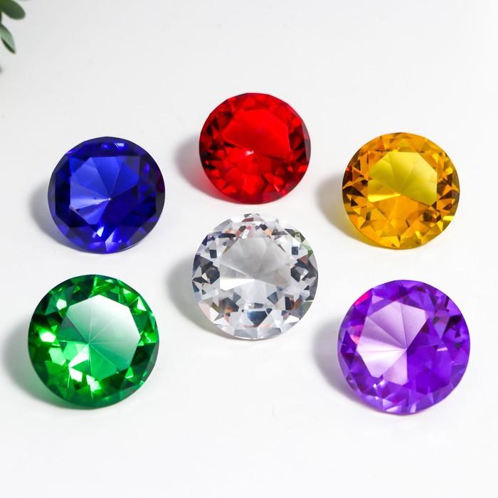Сувенир стекло Бриллианты набор 6 шт d4 см в коробке 17х12х4 см МИКС