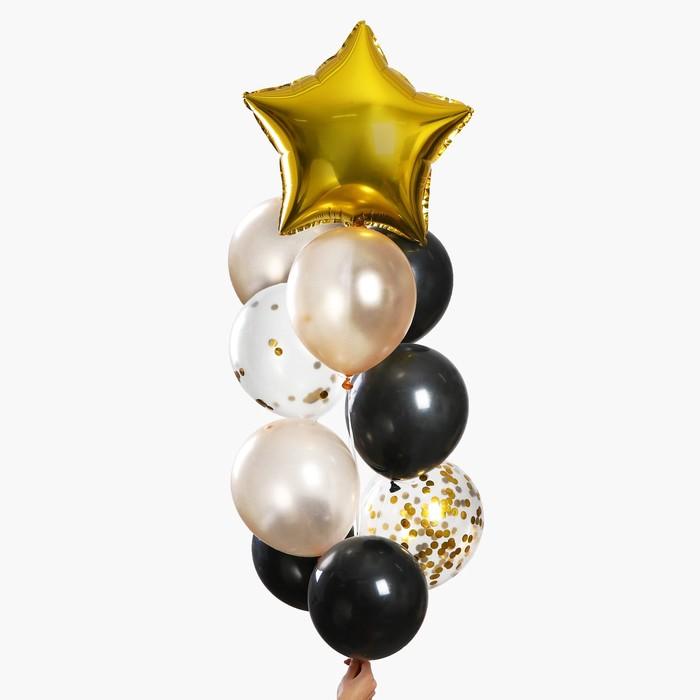 """Набор шаров для украшения праздника """"Яркий Новый год"""", латекс, фольга, с конфетти, набор 10 шт."""