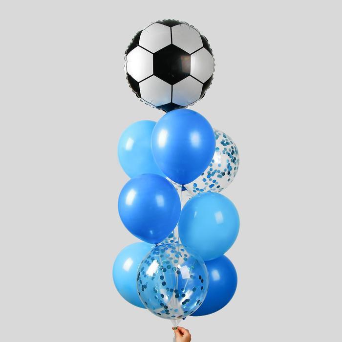 """Фонтан из шаров """"Футбол"""", для мальчика, с конфетти, латекст, фольга, 10 шт."""