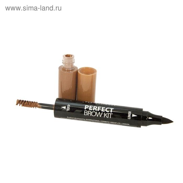 Набор для бровей Lamel Perfect Brow Kit, подводка и гель, тон 02, коричневый