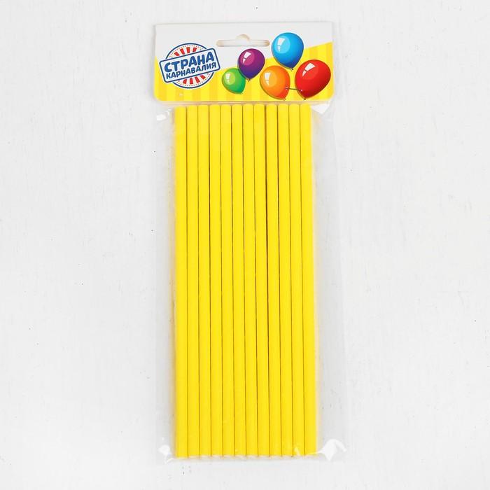 Трубочки для коктейля, набор 12 шт., цвет жёлтый