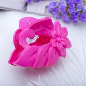 Краб для волос 'Цветной глянец' 6 см цветок,микс Ош