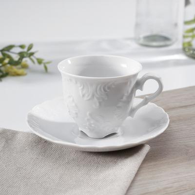 Кофейная пара Rococo, 100 мл, цвет белый - Фото 1