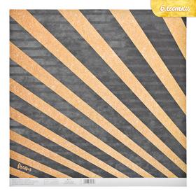 Бумага для скрапбукинга с блёстками «Золотые лучики», 30,5 х 30,5 см, 180 г/м