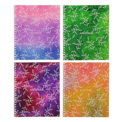 """Тетрадь 48 листов клетка на гребне """"Акварель"""", мелованный картон, ВД-лак, микс - Фото 1"""