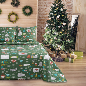 Постельное бельё 1,5сп Samy «Рождество», цвет зеленый, 147х210, 150х210, 70х70-2шт