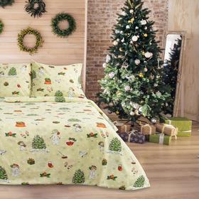 Постельное бельё 1,5сп Samy «Рождество», цвет красный, 147х210, 150х210, 70х70-2шт