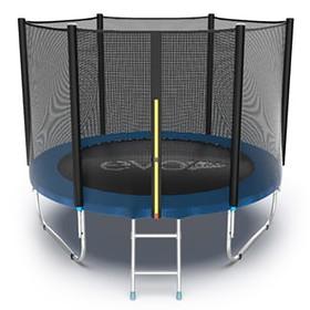 Батут EVO JUMP External 8 ft, d=244 см, с внешней сеткой и лестницей, синий Ош
