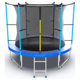 Батут EVO JUMP Internal 8 ft, d=244 см, с внутренней сеткой и лестницей, синий Ош