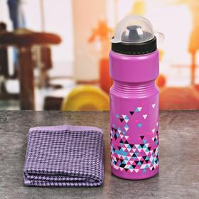 Набор «Треугольники»: бутылка для воды 800 мл, полотенце 30 см × 30 см, чехол Ош