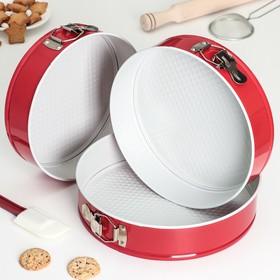Набор форм для выпечки разъёмных «Флёри. Круг», 3 шт: 28 см, 26 см, 24 см, с керамическим покрытием, цвет красный