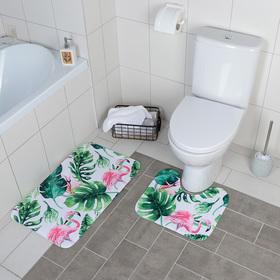 Набор ковриков для ванны и туалета Доляна «Фламинго», 2 шт: 40×43, 43×73 см