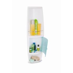 Угловой шкафчик, 3 полки, 15 х 15 х 70 см, дверца прозрачно-голубая Ош